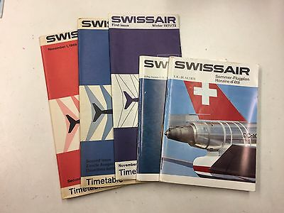 SWISSAIR Timetables November 1969 - March 1973 (5 editions)
