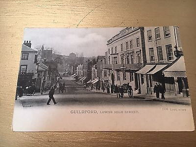 1900's Guildford High Street Black & White Unused Postcard - Vgc