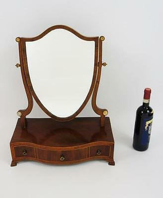 Georgian inlaid Mahogany serpentine front, shield mirror, dressing table mirror
