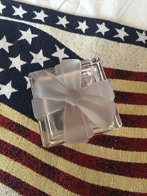 Tiffany & Co. Trinket Glass Box, Etched Ribbon Bow Top, Signed, Ret. $110.