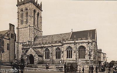 Postcard Dorchester Dorset animated view of St Peters Church RP early