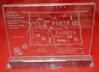 Corps of Discovery Lewis and Clark Expedition North Dakota Glass Art Display