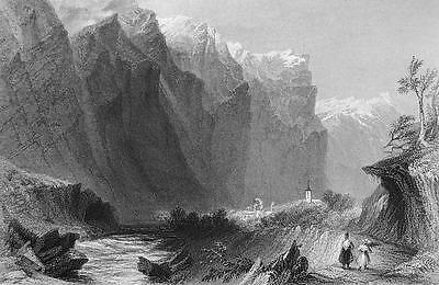 FRANCE Palons in Val Fressiniere Hautes Alpes - 1861 Engraving Print