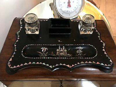 victorian black lacquered inkstand with two wells mother of pearl