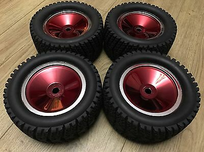Red Chrome 1/8 Monster Truck Tight 17mm Hex Wheels Street On Road Tyres
