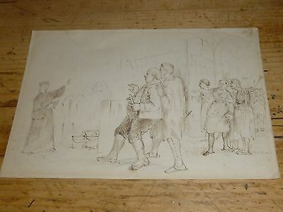 A Fine Antique Pen & Ink Drawing of a Clergyman Blessing a Cow c1890/1900?