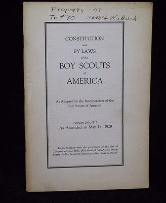 Boy Scout-64 pg 1929 Boy Scouts of America Constitution & Bylaws