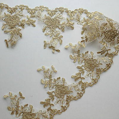 Gold Floral Embroidery Applique Motif Lace Trim --- (EB0146) Haberdashery