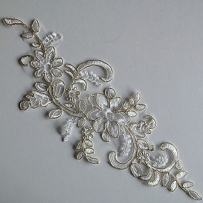 Gold Corded Ivory White Floral Embroidery Applique Motif Lace Trims (EB0210)