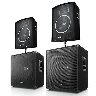"Set Kit Impianto Audio Dj Pa Casse + 2 Woofer 15"" 2000W"