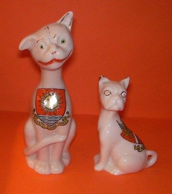 Crested China Cats Long Neck + Comical , Westonsuper Mare,Margate Crests
