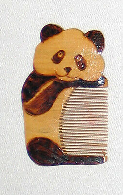 Carved Wood Panda Comb from China Chinese 2""
