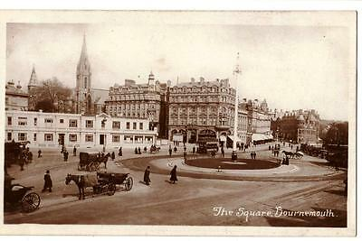 VINTAGE RP POSTCARD,THE SQUARE,BOURNEMOUTH,HORSE & CARTS,TRAM,BUSY SCENE,c1910s