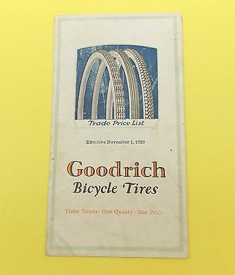 Vintage Antique B.F. Goodrich Brochure Catalog BICYCLE TIRES Dated 1920 Prices..