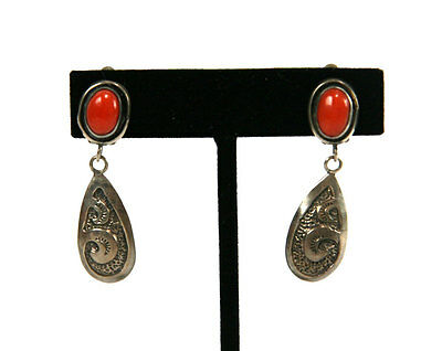 Alice Platero - Navajo Coral and Silver Clip-On Earrings, c. 1980