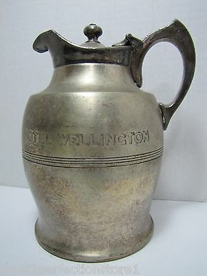 Antique HOTEL WELLINGTON Restaurant Ware Pitcher Hotakold pat 1909 early thermal