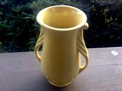 Vintage ABINGTON Pottery Yellow Urn Vase Scrolled Double Handles w/Leaves #181