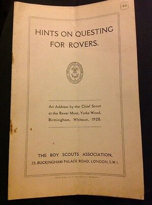 Vintage Scout Booklet Hints On Questing For Rovers 1928
