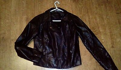 Red Herring faux leather biker jacket size 12