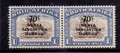 K U and T. 70c on 1s Mint LH SA surcharged stamp pair. 1941/2 Catalogue £22