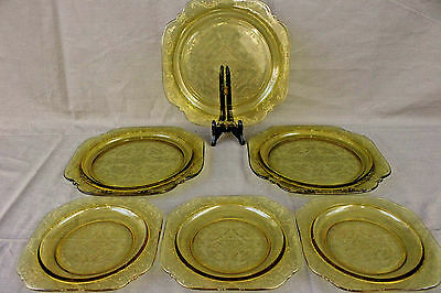Vintage Indiana/Federal Glass Yellow- Amber 3 Bread and Butter Plates & 3 Plates