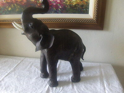 "Asian Elephant Handmade Leather India Decor Statue Sculpture 16"" tall"