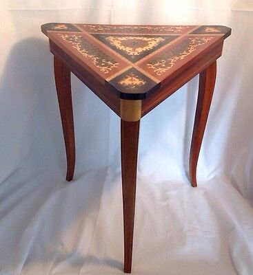 Vintage Italian Inlaid Marquetry Wood Musical Table Jewelry Box Corner Triangle