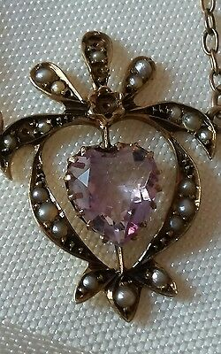 Antique Victorian 9ct gold amethyst seedpearl pendant & 18inch necklace.