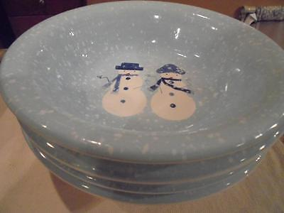 4 Bowls Target Holiday Winter Frost Blue Snowmen Mint Condition-Low Fast Shipng!