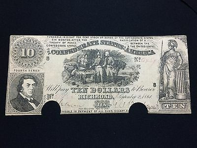 **SCARCE VARIETY (T-30)** $10 1861 Confederate States of America Currency