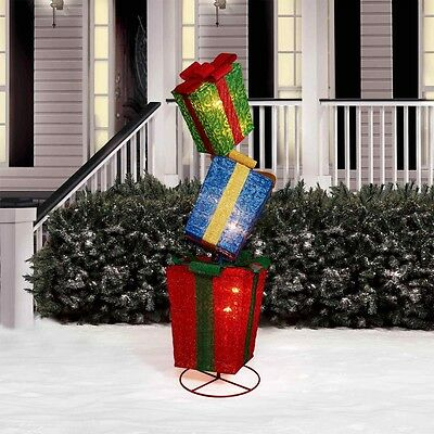 """52"""" Pop-Up Square Gift Box Tower Sculpture Christmas Yard Art Decoration Outdoor"""