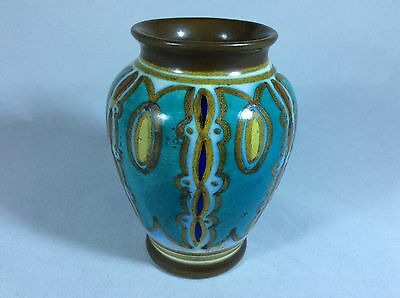 """Antique Gouda pottery vase. 4"""" tall. Hand painted and made in Gouda, Holland"""