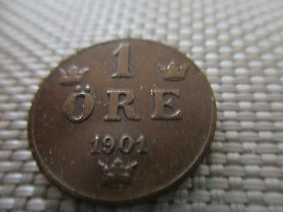 One Ore 1901 Sweden 1901 Nice Coin