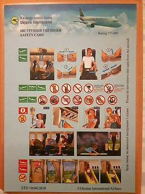 Ukraine International Airlines 737-800 safety card