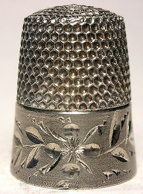 Mint Sterling Simons Thimble with Brushed Satin Finish & Floral Design c.1900s