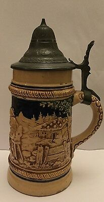 Beer Stein Blue and Beige Glazed with Pewter Lid. West Germany