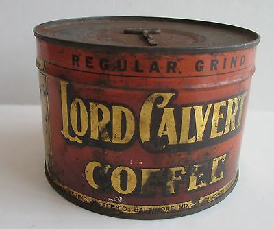Vintage collectible Rare Lord Calvert 1 LB. Coffee Tin with Key Never Opened