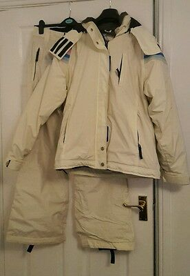 Ladies Womens Roxy Cream ski suit jacket & salopettes - Size 12/14