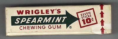 Wrigleys Spearmint Chewing Gum Unopened 10 cent Pack 1950s 60s