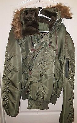 Flyers Jacket Mans Heavy Attached Hood N-2B Size Xl Alpha Industries