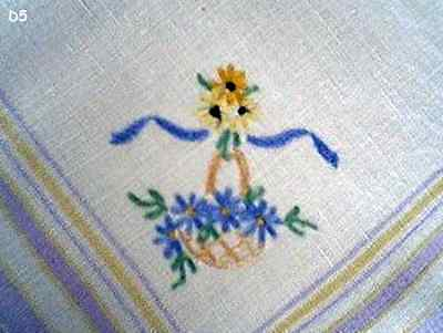 VINTAGE 50's! HAND-WORKED EMBROIDERY 'BLUE FLOWER BASKET' SQUARE LINEN  DOILY