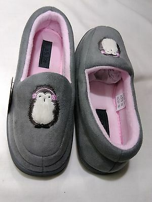 New Ladies Womens Moccasin Fur Slippers Penguin Print Comfort Shoes Sz Uk 3-8