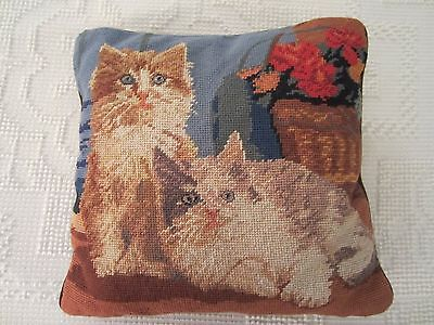 "Needlepoint Kitty Cats And Flowers Pillow 13"" Zippered Case"
