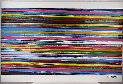 Phil Pierre - STRIPES 074 - new original abstract acrylic art painting on canvas