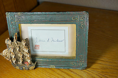 James Michener Autograph w/ Chinese Seal Stamp AUTHENTIC