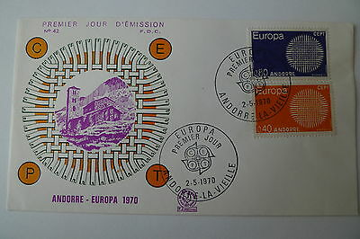 Europa Europe Andorra 1970 Set On Fdc Cover