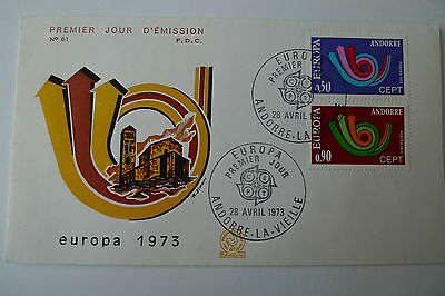 Europa Europe Andorra 1973 Set On Fdc Cover