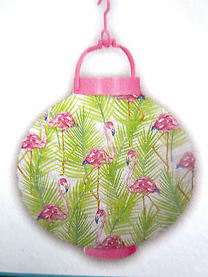 """Pink Flamingo Paper Lantern 8"""" x 8"""" Uses 2 """"AAA"""" Batteries Not Included New!"""