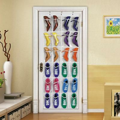 24Pockets Over Door Hanging Storage Rack Holder Shoes Organiser