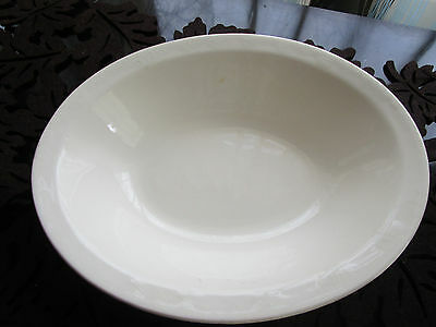 """Antique Early 1900's Semi Porcelain WHITE Ironstone Oval Bowl 9"""""""